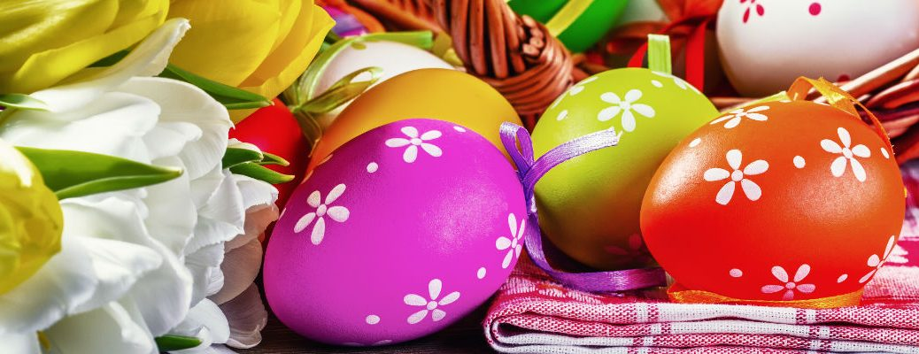 A stock photo of some Easter eggs in a basket.