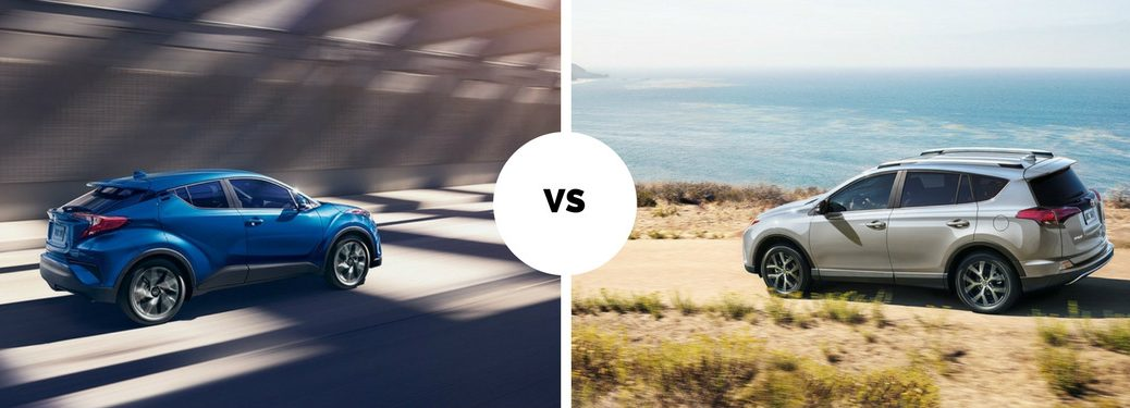 2018 Toyota C-HR driving down tunnel vs 2018 Toyota RAV4 driving along the beach