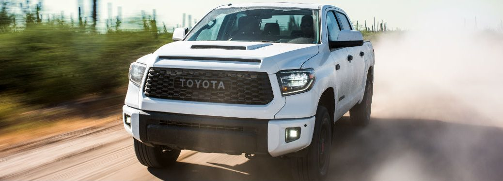 2019 Toyota Tundra TRD Pro Front View of White Exterior