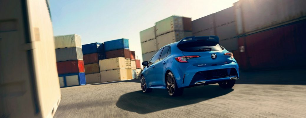 2019 Toyota Corolla Hatchback Rear View of Blue Flame Exterior