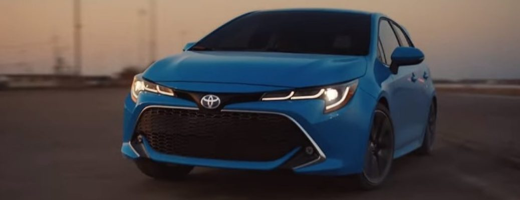 2019 Toyota Corolla Hatchback Front View of Blue Flame Exterior
