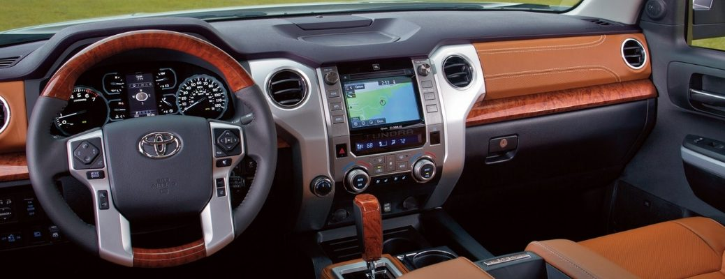2019 Toyota Tundra Front Cabin with Brown Leather Trim