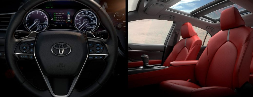 2019 Toyota Camry Steering Wheel and Red Upholstery