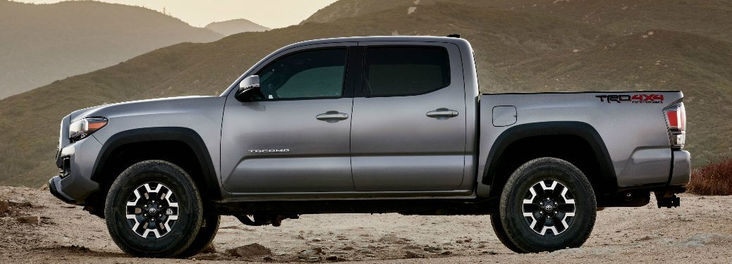 Side view of silver 2020 Toyota Tacoma