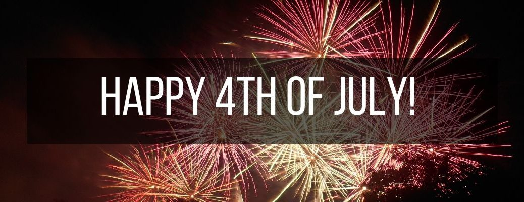 """Fireworks with """"Happy 4th of July!"""" white text"""