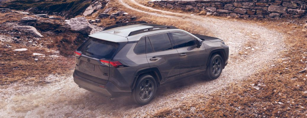 Overhead view of 2020 Toyota TRD Off-Road driving down dirt road