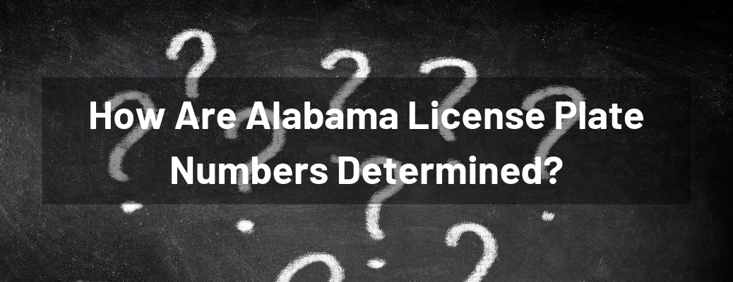 """How Are Alabama License Plate Numbers Determined?"" white text over chalkboard covered in white question marks"