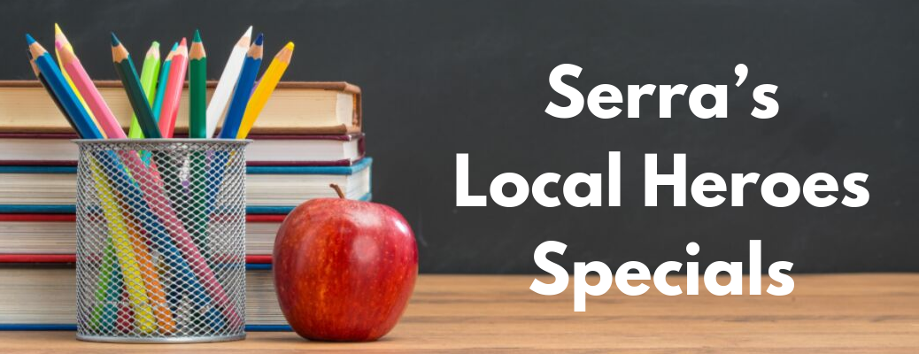 """Stack of books with pencils and apple in front of them with """"Serra's Local Heroes Specials"""" white text"""