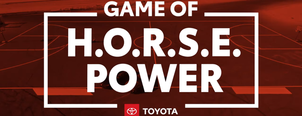 "Red background with white ""Game of H.O.R.S.E. Power"" text and Toyota logo"