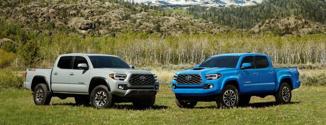 Grey 2020 Toyota Tacoma and blue 2020 Toyota Tacoma in grass