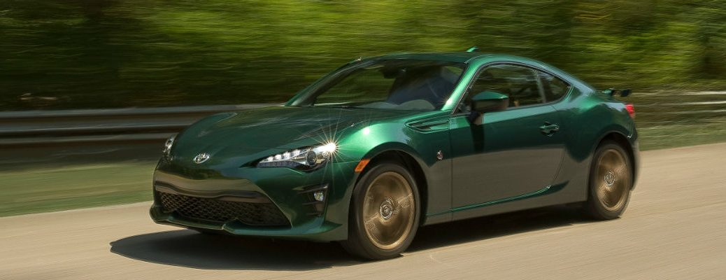 Green 2020 Toyota 86 driving