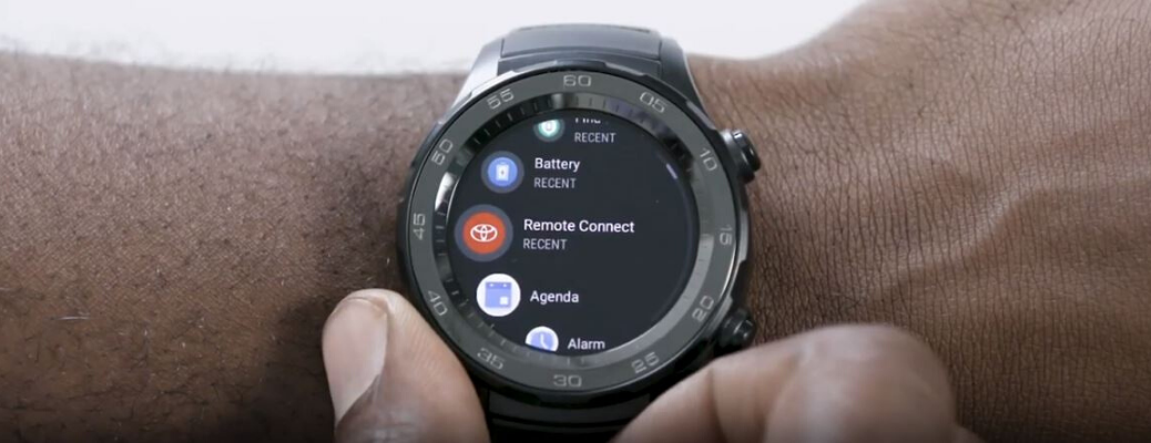 Screenshot image of smartwatch with Toyota Remote Connect app icon from Toyota USA YouTube video