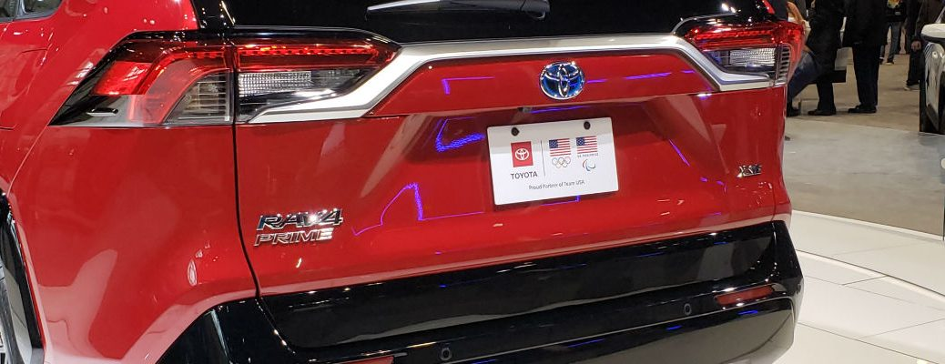 A photo of the rear tailgate on the 2021 Toyota RAV4 Prime at the Chicago Auto Show.