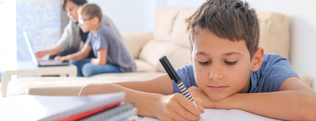 A stock photo of kids doing homeschooling.