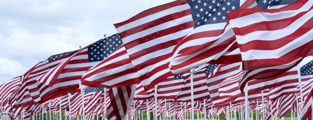 A stock photo of several small flags in the ground.