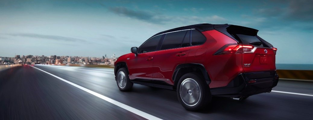 A photo of the 2021 Toyota RAV4 Prime on the road.