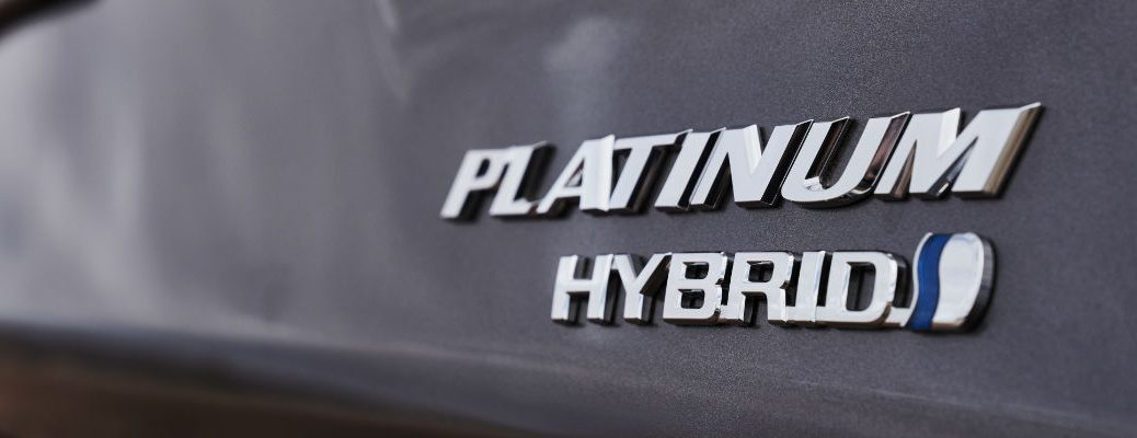 A photo of the hybrid badge used by several Toyota hybrid vehicles.