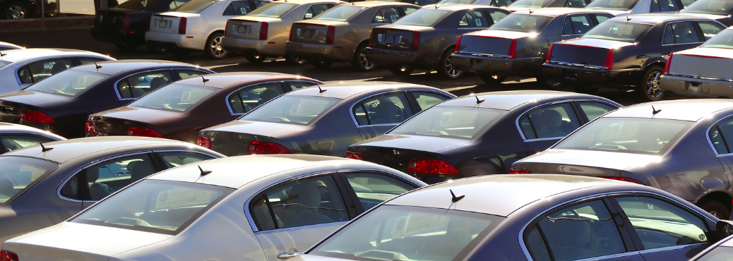 Cars parked outside at a car dealership