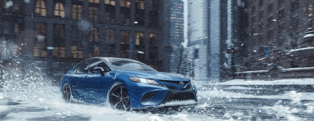 2020 Toyota Camry driving on snow