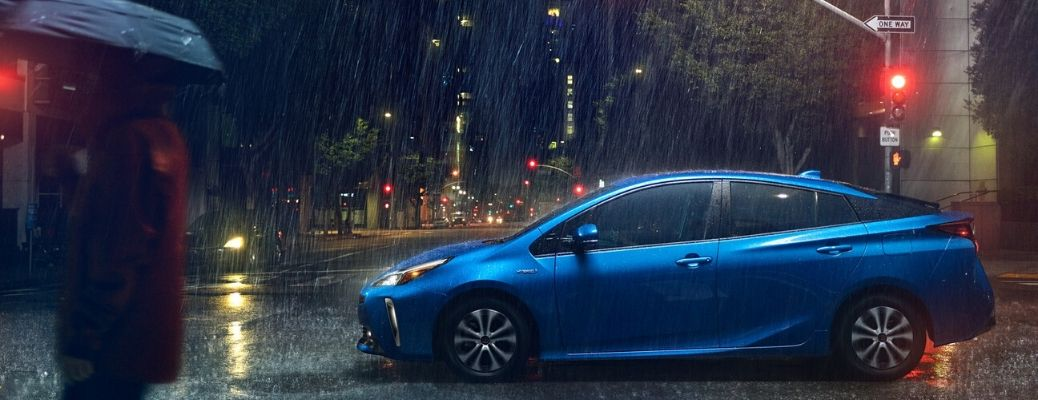2020 Toyota Prius parked outside in the rain