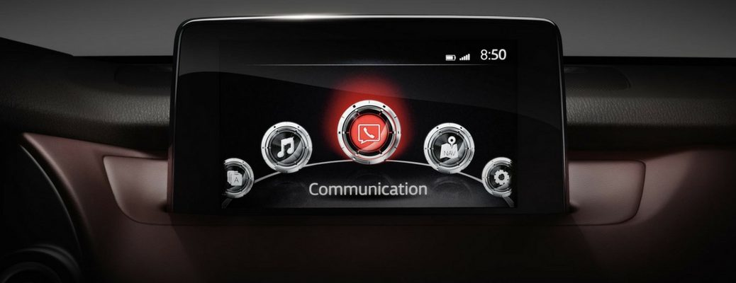 Center touchscreen interface of 2018 Mazda CX-9 showing Mazda Connect infotainment system