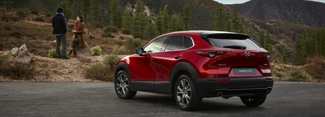rear view of red mazda cx-30 parked