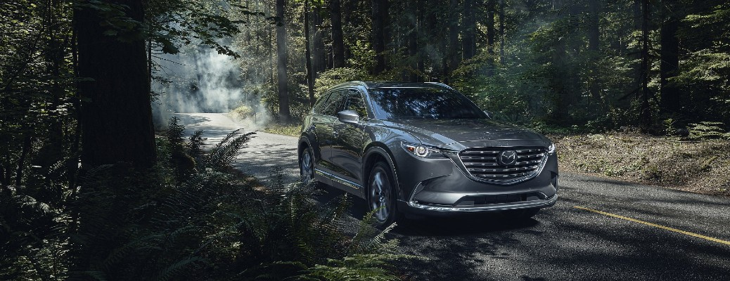 The front and side view of a gray 2021 Mazda CX-9 driving in a forest.
