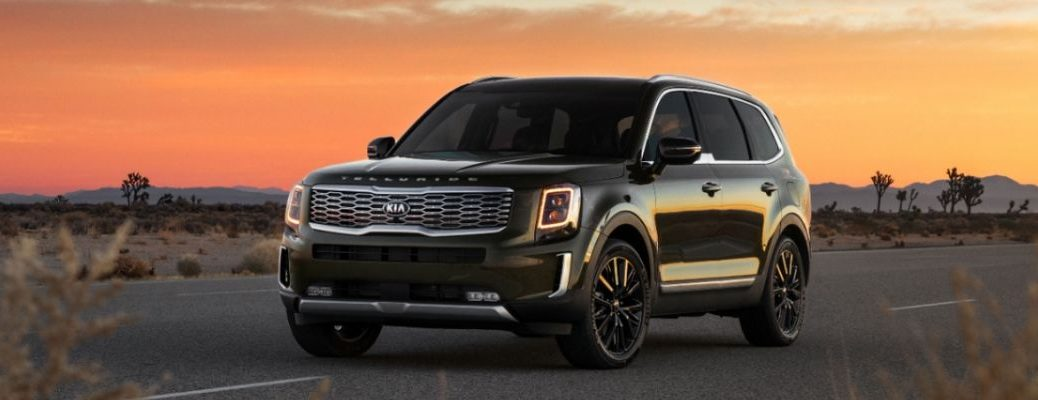 Exterior view of a green 2020 Kia Telluride