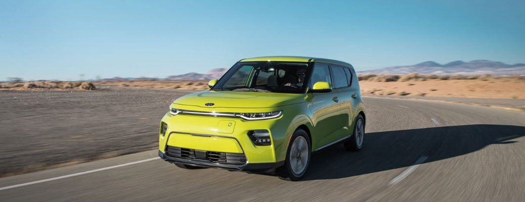 Exterior view of a yellow 2021 Kia Soul EV
