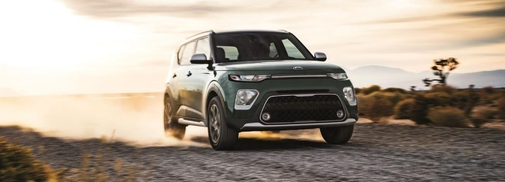 Exterior view of a green 2021 Kia Soul