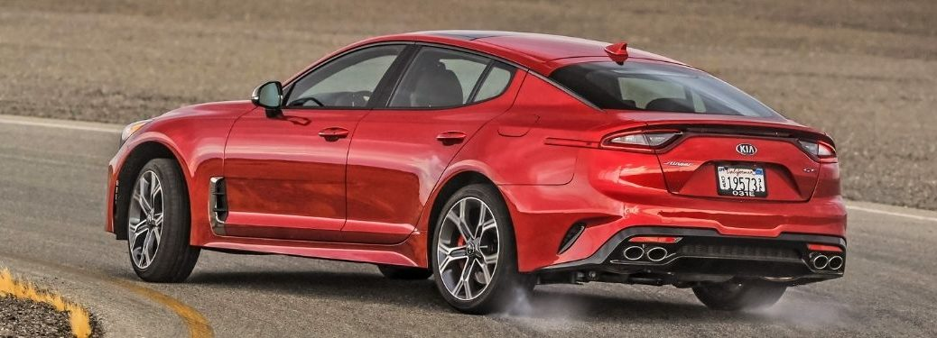 Exterior view of a red 2021 Kia Stinger