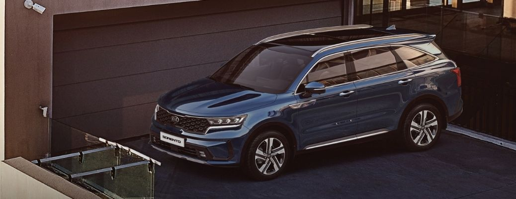 Exterior view of a blue 2021 Kia Sorento