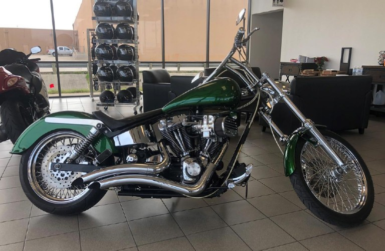 A green custom-built 2006 motorcycle, found at Twisted Cycles in Dallas, TX.