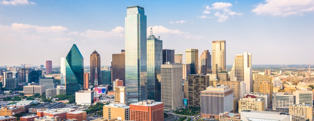 The skyline of Dallas, TX on a sunny afternoon.