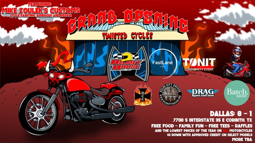 The banner image for Twisted Cycles's Grand Opening Event, which will feature Mike Zoulek's Customs along with other local businesses.