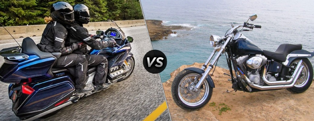A touring motorcycle compared to a cruiser motorcycle.