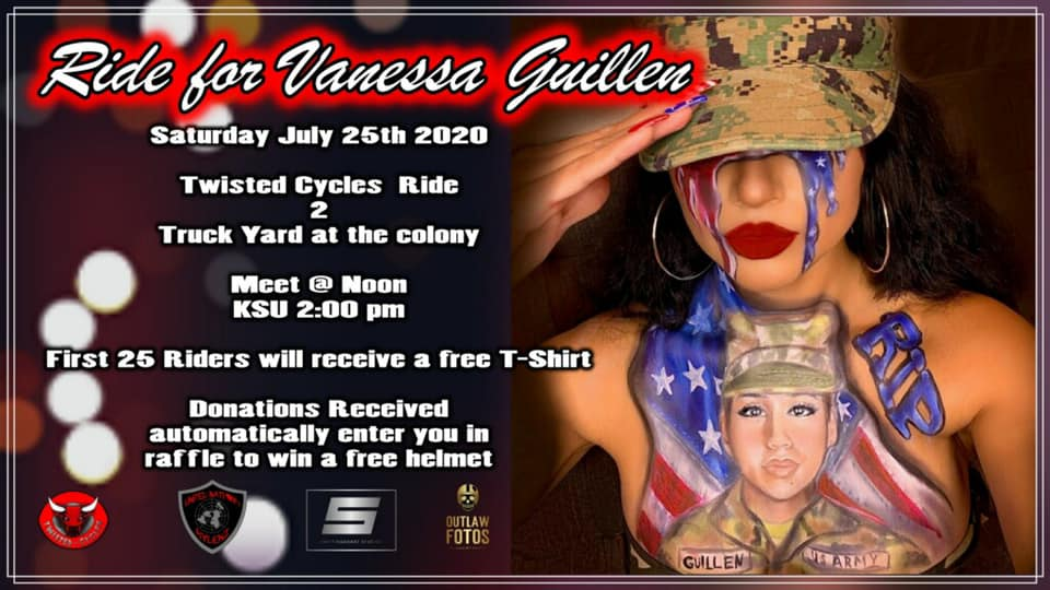 A banner image made for the Ride for Vanessa Guillen, which details the information on the event.