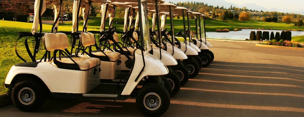 A group of white golf carts parked near each other next to a small lake.