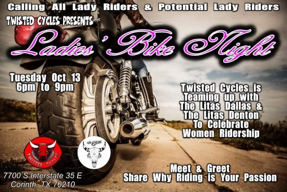 The Ladies Bike Night image displaying the information and partnership from Twisted Cycles.