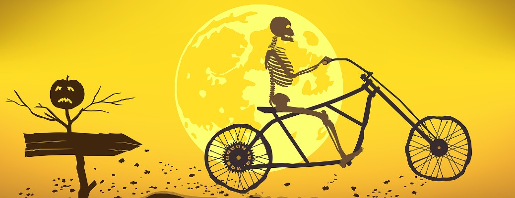 A cartoon image of a skeleton riding a motorcycle with te bright moon in the background.