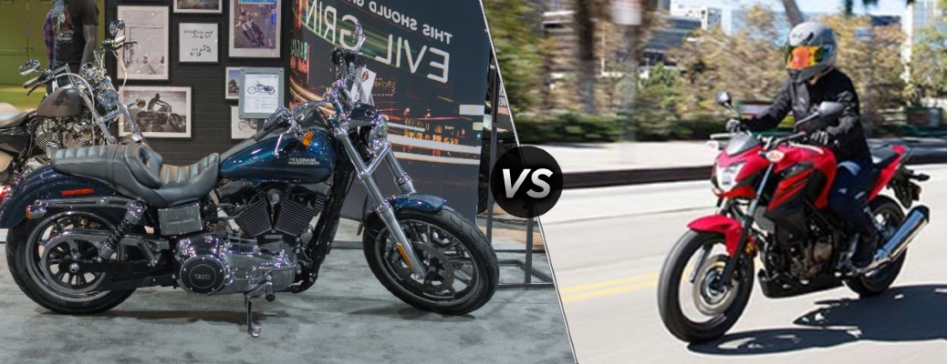 A 2015 Harley Davidson Dyna Low Rider compared to a 2018 Honda CB300F.