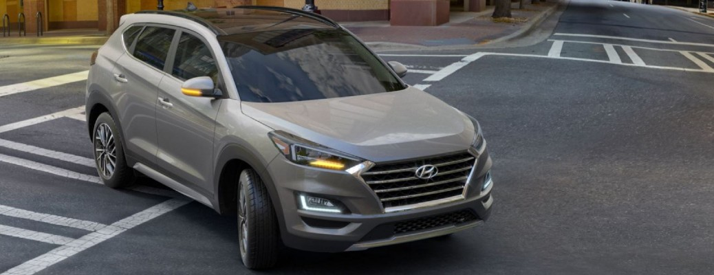 A 2021 Hyundai Tucson driving and turning