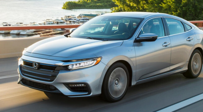 Front view of silver 2020 Honda Insight on the road
