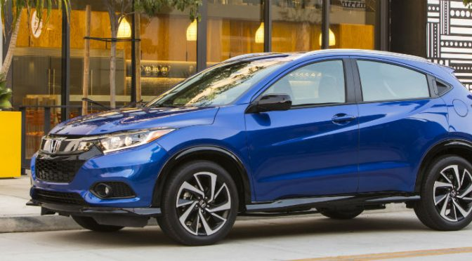 Side view of 2020 Honda HR-V Aegean Blue Metallic parked on the street