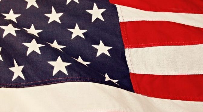 Close-up image of an American flag