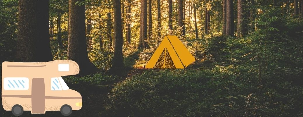 A tent and RV in the wilderness