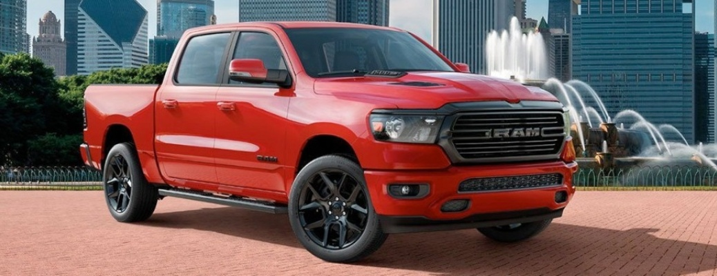2020 RAM 1500 in front of a fountain