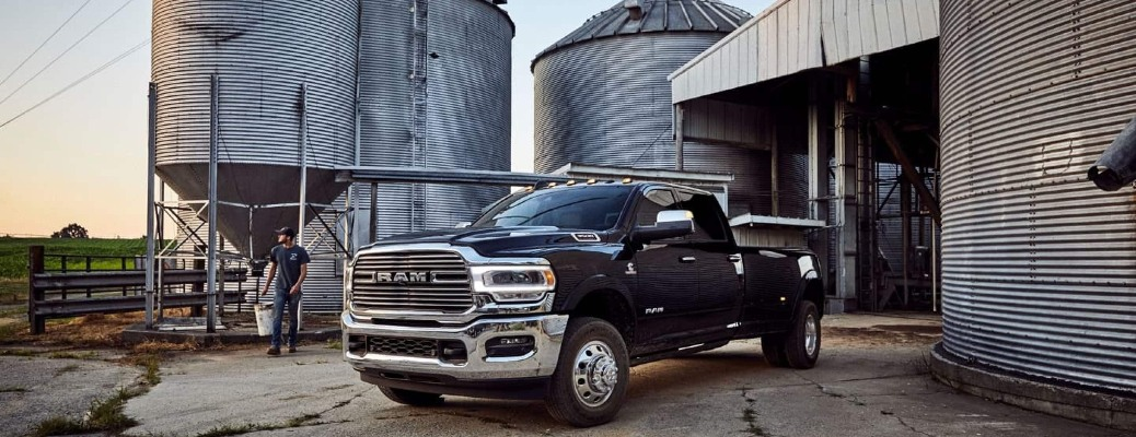 2020 RAM 3500 parked outside of silos