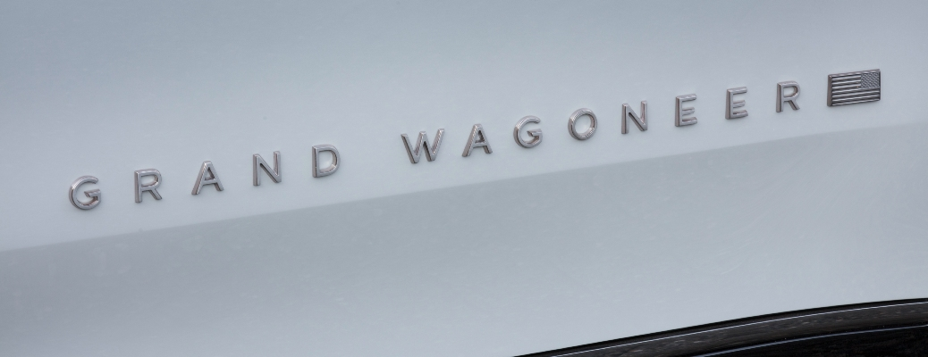 Grand Wagoneer decal on the bottom of the new Jeep vehicle
