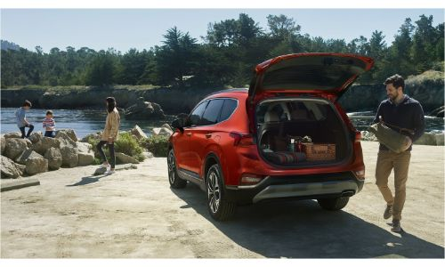 2020 Hyundai Santa Fe with back end open and cargo stored inside